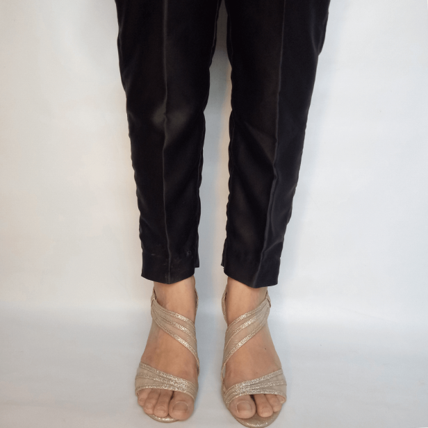 Black Silk Trouser Pant For Women