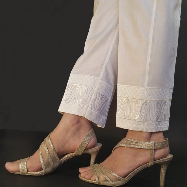 White Embroided Trouser Pant For Women Ladies