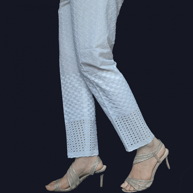 Chikan - Trouser Pant For Ladies Women - Soft Cotton - White