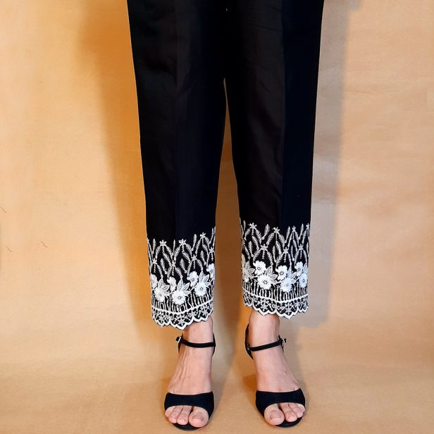 Embroided Trouser Soft Cotton Black White